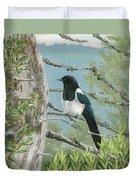 Magpie In Alaska Duvet Cover