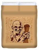 Mahatma Gandhi Coffee Painting Duvet Cover