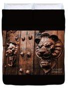 Mahogany Lion Heads Duvet Cover