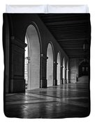 Main Building Arches University Of Texas Bw Duvet Cover