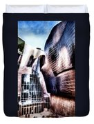 Main Entrance Of Guggenheim Bilbao Museum In The Basque Country Fractal Duvet Cover