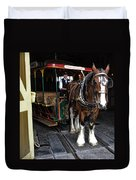 Main Street Horse And Trolley Duvet Cover