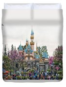Main Street Sleeping Beauty Castle Disneyland 01 Duvet Cover