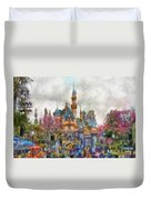 Main Street Sleeping Beauty Castle Disneyland Photo Art 02 Duvet Cover