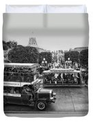 Main Street Transportation Disneyland Bw Duvet Cover