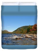 maine 1 Acadia National Park Jordan Pond in Fall Duvet Cover