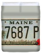 Maine License Plate Duvet Cover