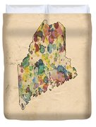 Maine Map Vintage Watercolor Duvet Cover