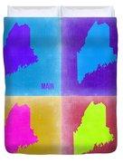 Maine Pop Art Map 2 Duvet Cover