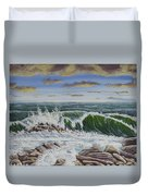 Crashing Waves At Pemaquid Point Maine Duvet Cover
