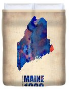 Maine Watercolor Map Duvet Cover