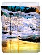 Maine Winter Along The Androscoggin River Duvet Cover