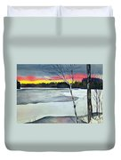 Maine Winter Sunset Duvet Cover