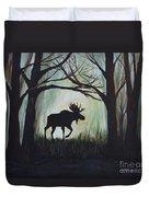 Majestic Bull Moose Duvet Cover by Leslie Allen