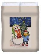 Make A Wish Snowman Duvet Cover