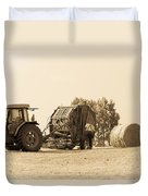 Farm - Tractor - Hay - Making The Drop Duvet Cover