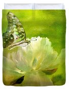 Malachite On Peony Duvet Cover