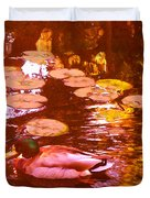 Malard Duck On Pond 3 Duvet Cover