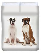 Male Boxer With Female Boxer Dog Duvet Cover