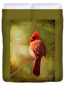Male Cardinal In The Sun - Digital Paint Duvet Cover
