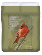 Male Cardinal On Twigs With Bible Verse Duvet Cover