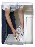 Male Doing Laundry Duvet Cover