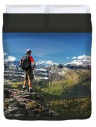 Male Hiker Standing On Top Of Mountain Duvet Cover