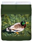 Male Mallard Swimming Duvet Cover