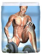 Male Musculature Looking At A Dumbbell Duvet Cover