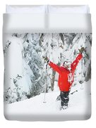 Male Skier Throws His Hands Duvet Cover