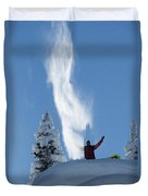 Male Snowboarder Throwing Powder Duvet Cover