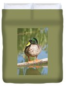 Mallard Duck On Log Duvet Cover