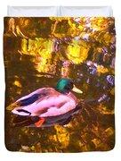 Mallard Duck On Pond 1 Duvet Cover