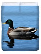 Mallard Duck With Reflection On The Water Duvet Cover