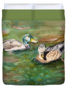 Mallard Ducks With Spawning Salmon Duvet Cover