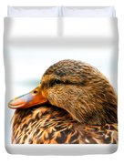 Mallard Hen Close Up Duvet Cover