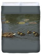 Mallard Mother With Ducklings Duvet Cover