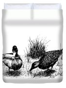 Mallards In The Marsh Duvet Cover