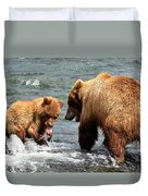Mama And Baby Grizzly Bear At The Falls Duvet Cover