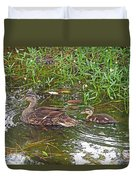 Mama Duck And Baby Duvet Cover