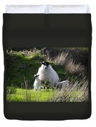 Mama Sheep And Her Two Lambs Duvet Cover