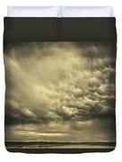 Mammatus Storm Clouds Above A Lake Duvet Cover