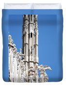 Man And Dragon Gargoyles With Tower Duomo Di Milano Italia Duvet Cover