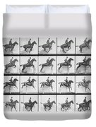 Man And Horse Jumping A Fence Duvet Cover