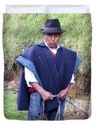 Man At Otavalo Animal Market Ecuador Duvet Cover
