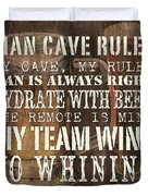 Man Cave Rules Square Duvet Cover