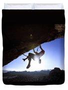 Man Climbing On An Overhang In Joshua Duvet Cover