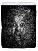 Man Eyes Face Horror Portrait Black And White  Duvet Cover
