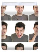 Man Face Expressions Duvet Cover
