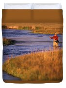 Man Fly Fishing On The Owens River Duvet Cover